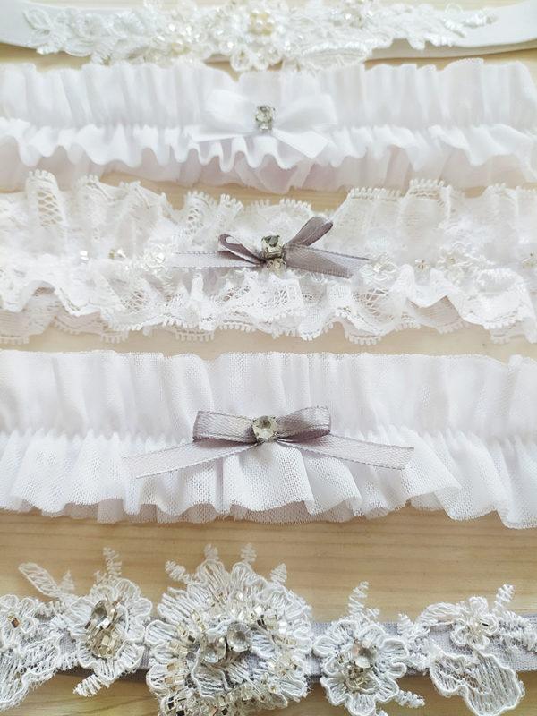 Svatební podvazky bílá s šedou