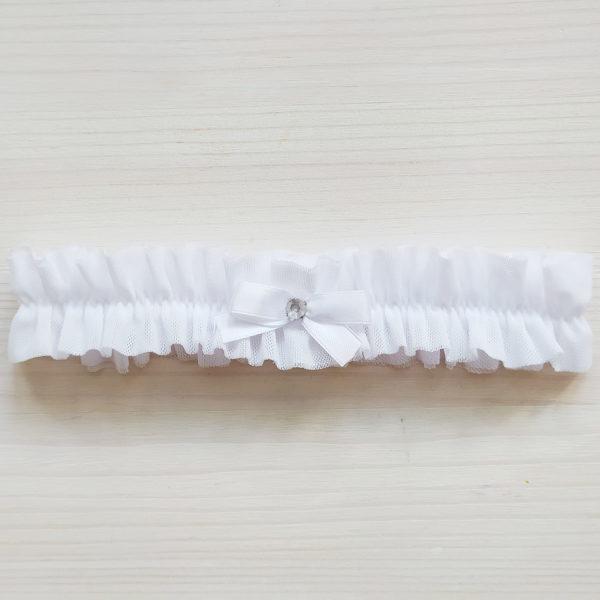 Podvazek svatební pro nevěstu bílý
