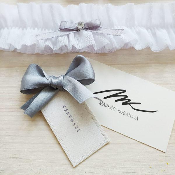 Svatební podvazek pro nevěstu s šedou mašlí