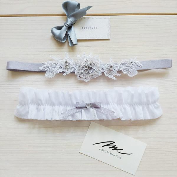 Svatební podvazek šedý s bílým