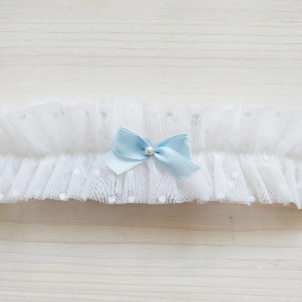 Podvazek svatební s modrou mašličkou a puntíky