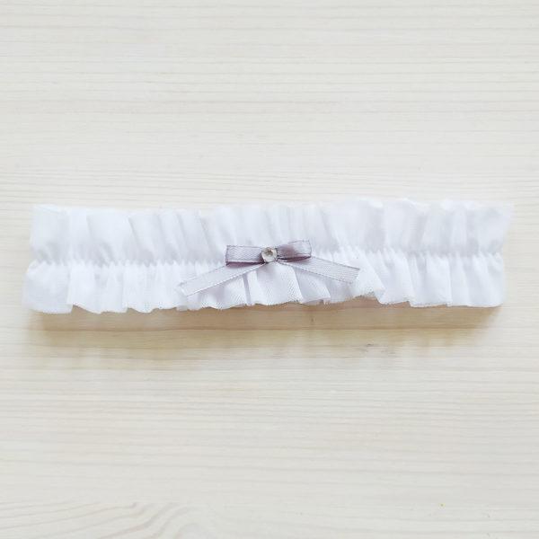 Svatební podvazek bílý s šedou mašličkou 3