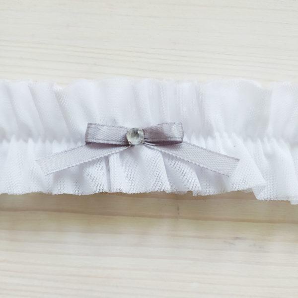 Svatební podvazek bílý s šedou mašličkou