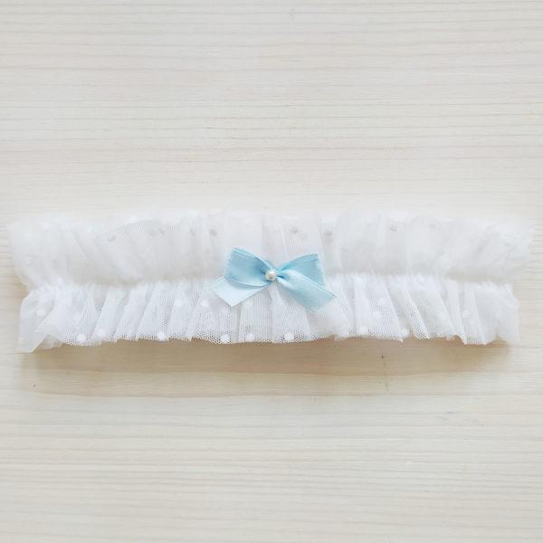 Podvazek svatební s modrou mašličkou