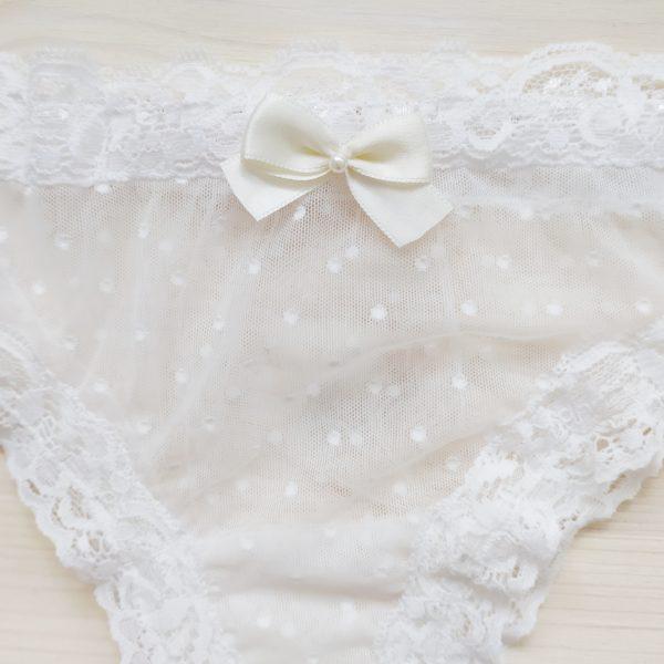 Krajkové svatební kalhotky bílé