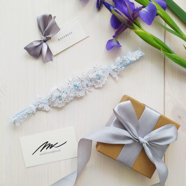 Svatební podvazek modrý luxusní