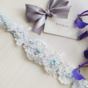 Svatební podvazek modrý